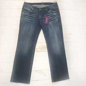 NWT Vigoss 18  Jagger straight embroidered jeans